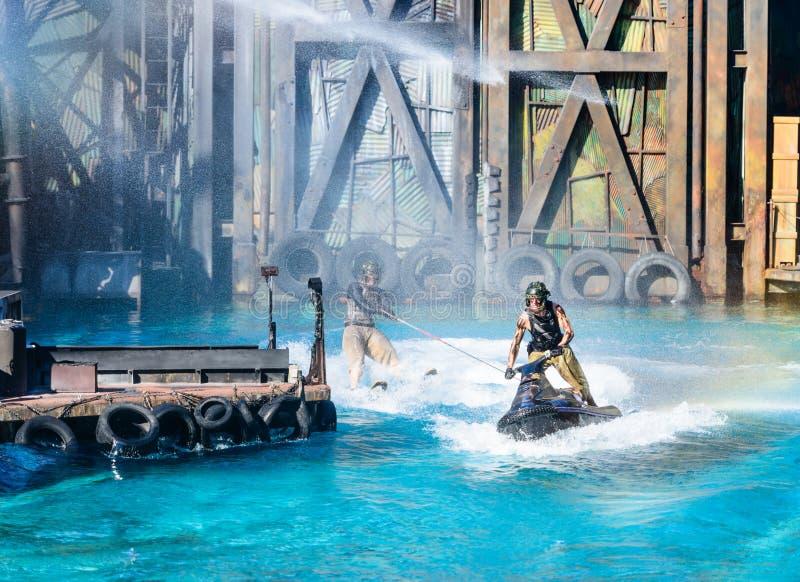 Waterworld bij Universele Studio's stock fotografie