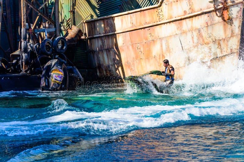Waterworld bij Universele Studio's stock afbeelding