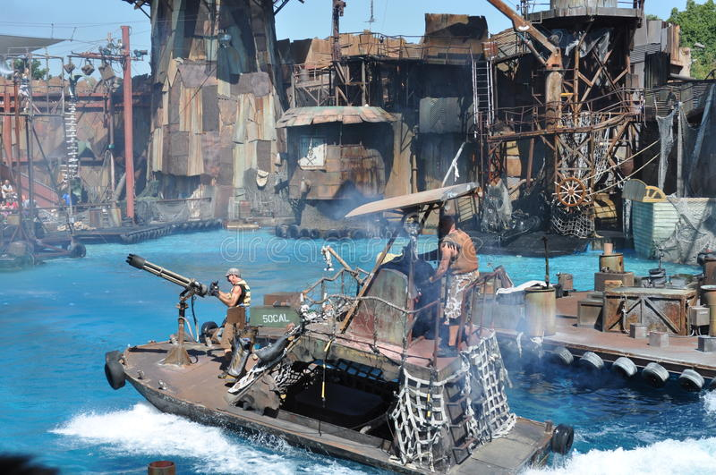 Waterworld show at Universal Studios Holliwood. August 2013, Holliwood (California) - View of the live show on the stage of the spectacular show Waterworld ( stock images