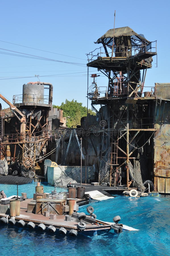 Waterworld show at Universal Studios Holliwood. August 2013, Holliwood (California) - View of the stage of the spectacular show Waterworld (based on 1995 movie royalty free stock photos