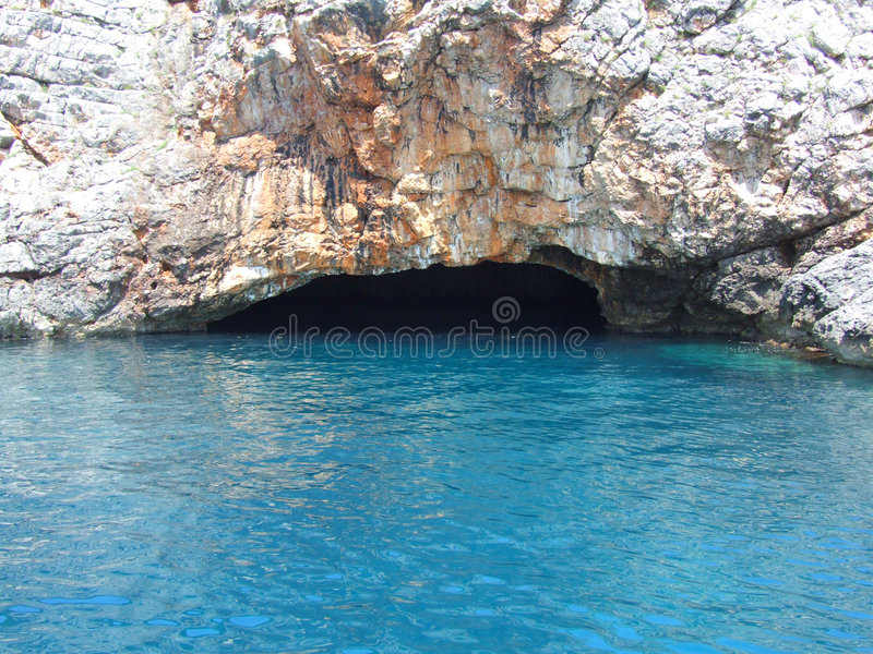 Watery cave. In Montenegro stock image