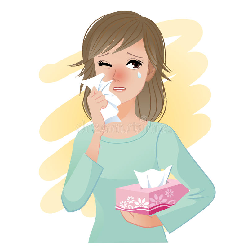Watery eyed woman holding facial tissue box. Suffering from hayfever or pollen fever. Allergy royalty free illustration