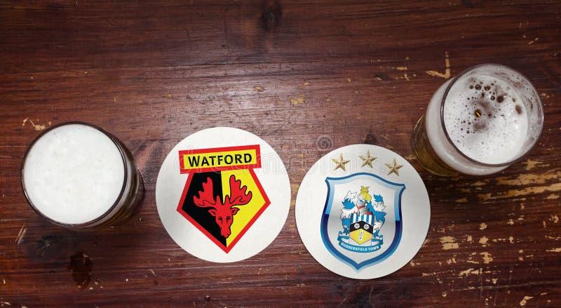 Watford contre Huddersfield Town photographie stock libre de droits