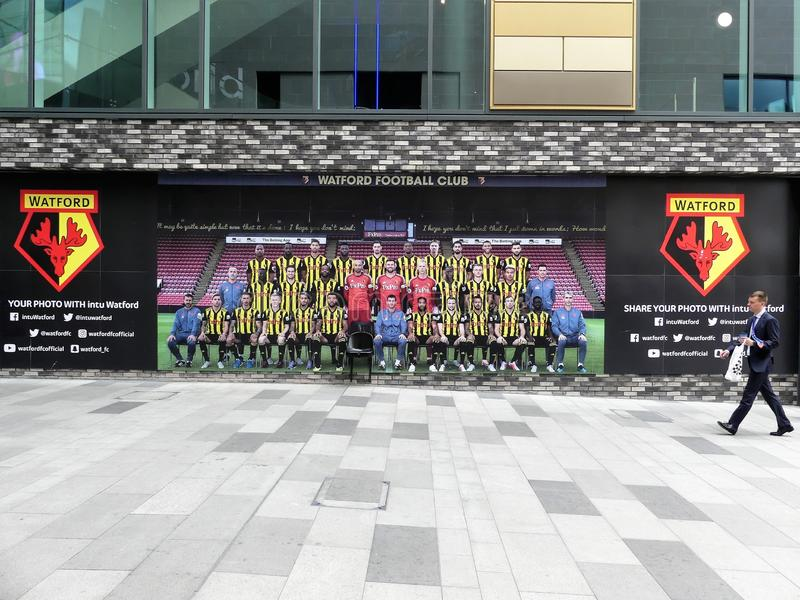 Watford Football Club share your photo with intu Watford feature wall royalty free stock photos