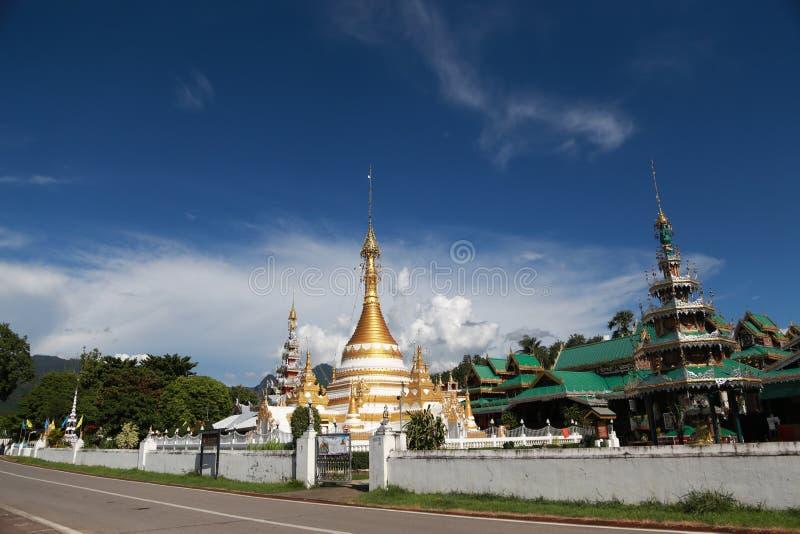The watjongklang temple at Mueang Mae Hong Son. The watjongklang temple it is a beautiful and unforgettable place of Mae Hong Son tourism stock images