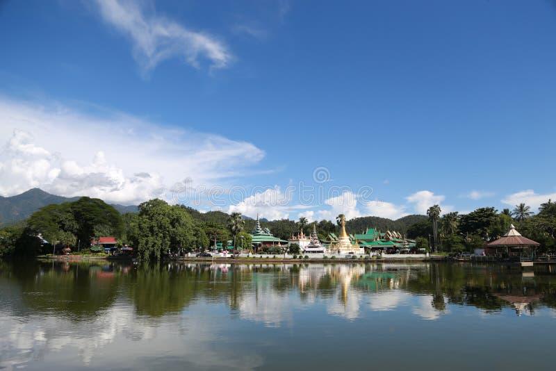 The watjongklang temple at Mueang Mae Hong Son. The watjongklang temple it is a beautiful and unforgettable place of Mae Hong Son tourism stock photo