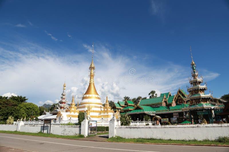 The watjongklang temple at Mueang Mae Hong Son. The watjongklang temple it is a beautiful and unforgettable place of Mae Hong Son tourism royalty free stock photos