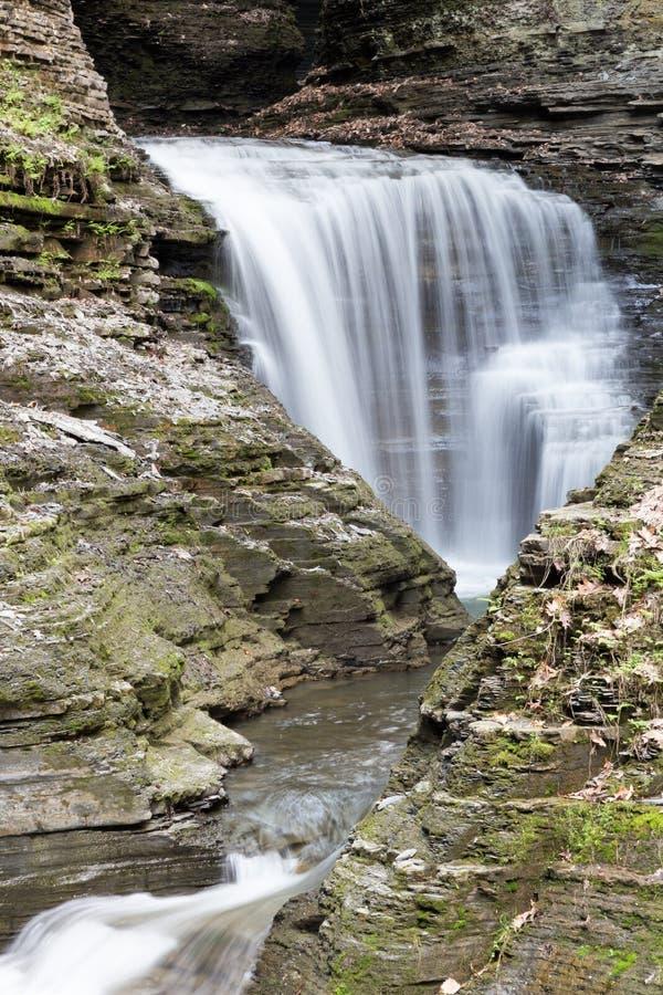 Watkins Glen Waterfalls. Long Exposure of a watkins glen watefall in NY stock photos