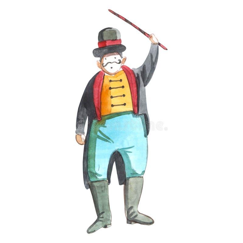 Watrcolor在白色背景隔绝的逗人喜爱的马戏经理的儿童的例证 向量例证