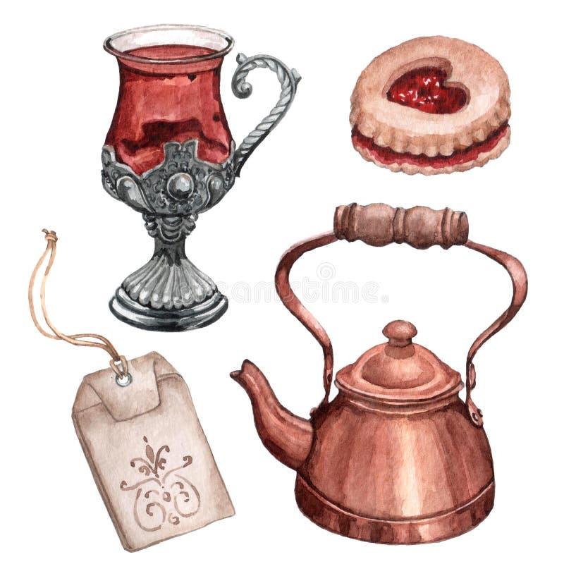 Watrecolor设置了茶会元素草本茶杯、甜点和金属茶壶 库存图片