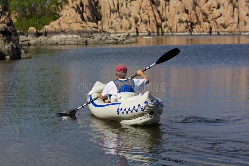 Watson Lake Kayaker stock images