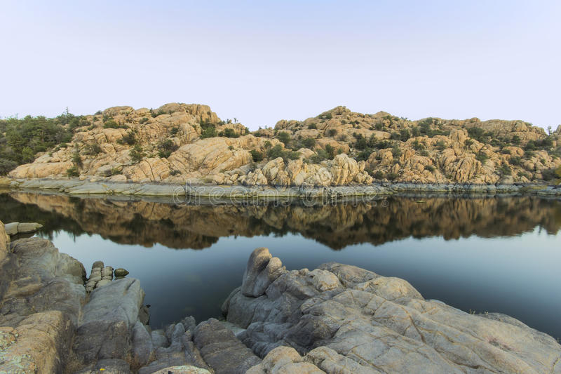 Watson lake morning stock photo