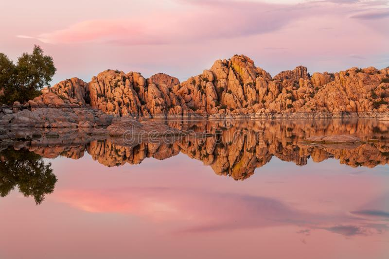 Watson Lake Prescott Arizona Sunset. A beautiful sunset reflection at Watson Lake Prescott Arizona royalty free stock photos