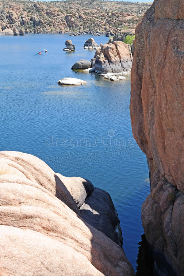 Watson Lake Prescott, AZ - Kayaking royaltyfri foto