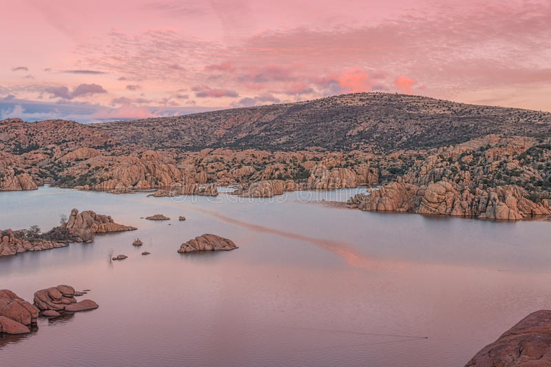 Watson Lake at Siunset. A colorful sunset on the granite rocks surrounding Watson Lake Prescott Arizona royalty free stock photography