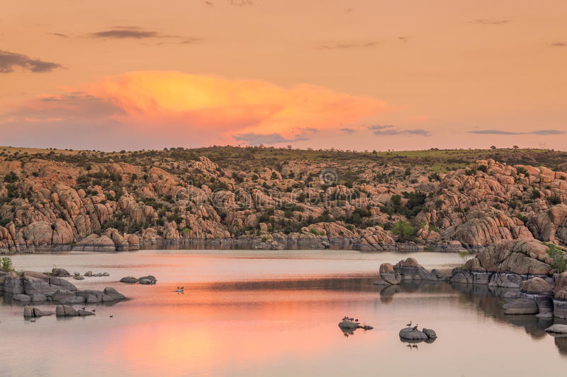 Watson Lake Sunset. A beautiful sunset at watson lake prescott arizona stock image