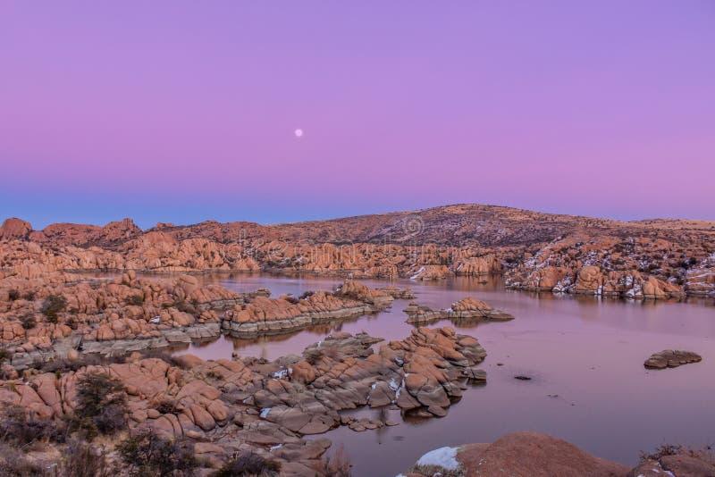Watson Lake Sunset and Moonrise royalty free stock image