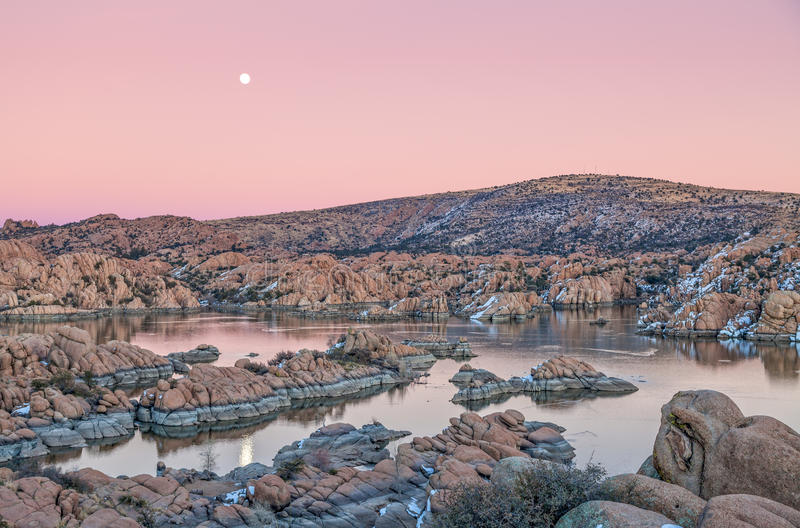 Watson Lake Sunset Moonrise royalty free stock images