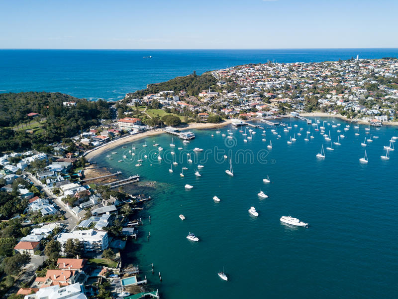 Watsons海湾港口,悉尼鸟瞰图  免版税图库摄影
