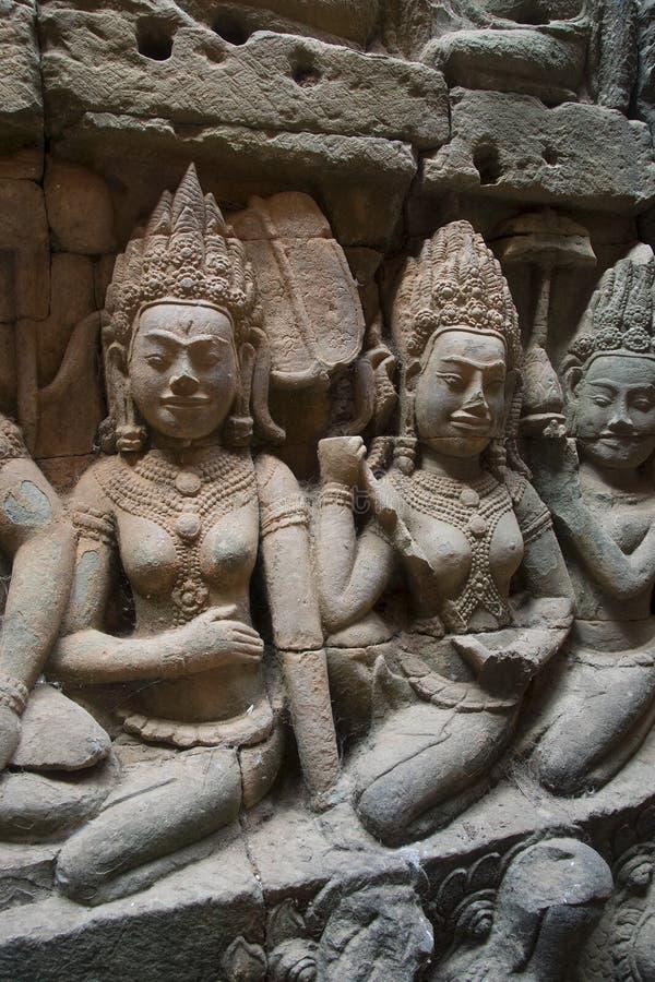 Watt d'Angkor - merci murs de ruine de temple de Prohm de la ville de khmer d'Angkor Vat - énoncez le monument image libre de droits