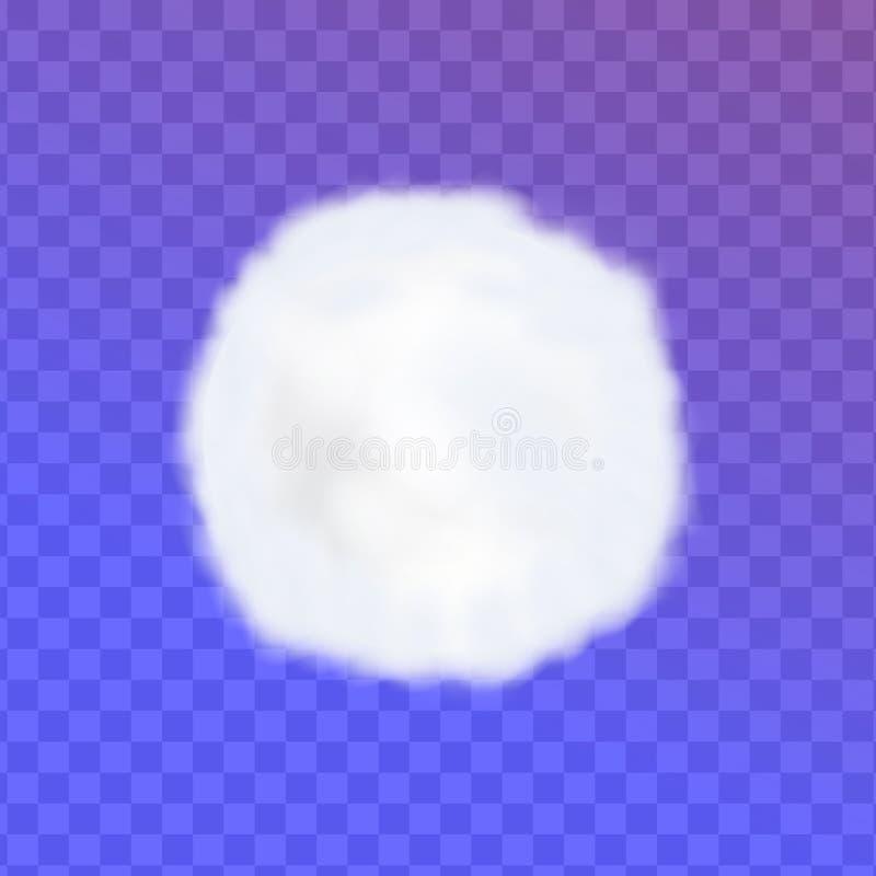 Wattebausch pom oder weiche weiße Wolke der Runde lokalisiert auf transparentem Hintergrund stock abbildung