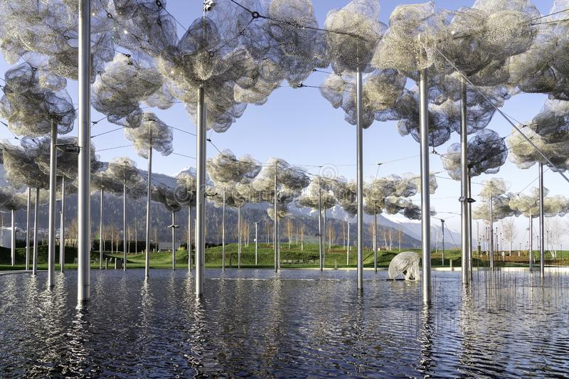 Wattens, Austria  - April 1, 2019: The beautiful crystal clouds in Swarovski Kristallwelten Crystal Worlds museum - Immagine.  royalty free stock image