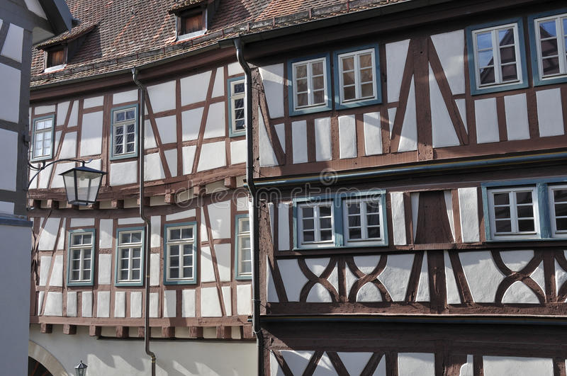Wattle facades, bad wimpfen. View of sunny facades of old wattle houses in city center stock photo