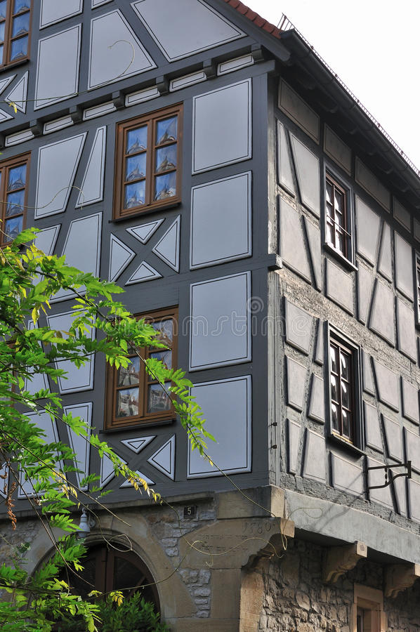 Wattle house, bad wimpfen. Detail of old wattle house in city center stock images