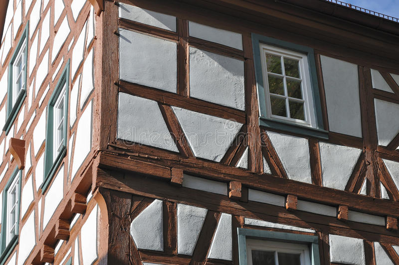 Wattle house, bad wimpfen. Detail of old wattle house in city center stock image