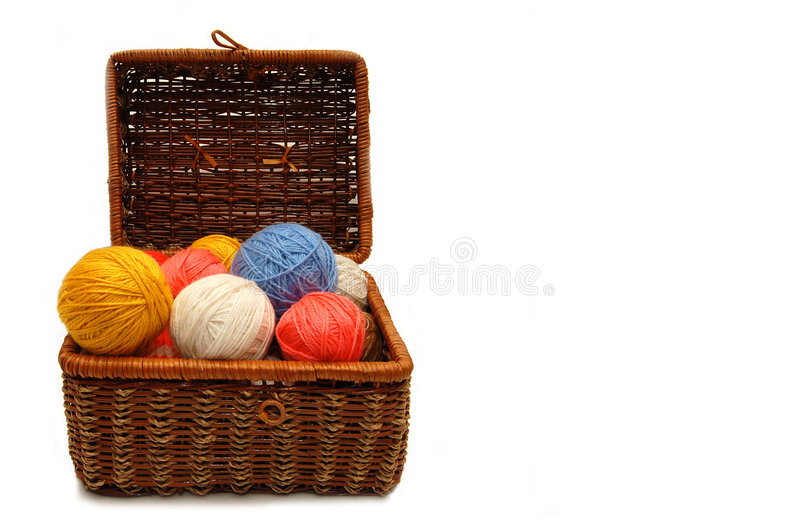 Download Wattled Box With Colour Balls Of Wool Royalty Free Stock Image - Image: 8901526