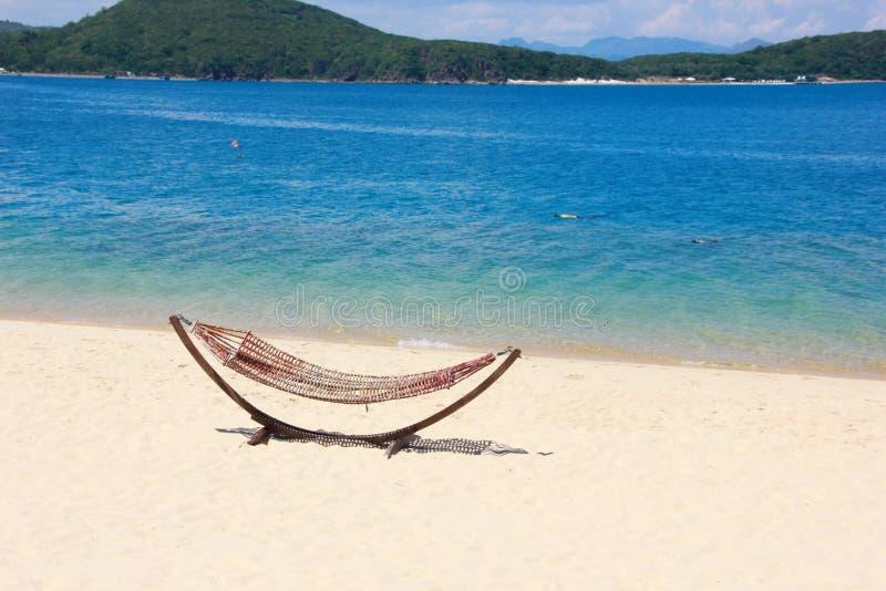 Wattledhangmat op het zandige strand dichtbij het overzees stock afbeeldingen