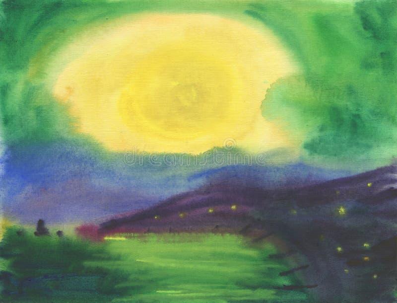 Watwrcolor bakgrund Dimmig, dimmig molnig lugna solnedgång på havet royaltyfri illustrationer