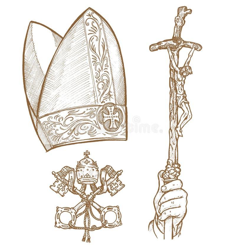 Watykańscy symbole ilustracji