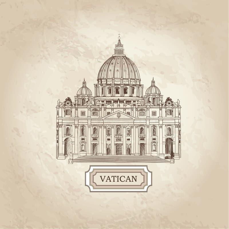 Watykański stary papier textured architektoniczny tło St Peter royalty ilustracja