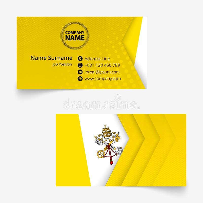 Watykan Chorągwiana wizytówka, standardowego rozmiaru 90x50 mm wizytówki szablon royalty ilustracja