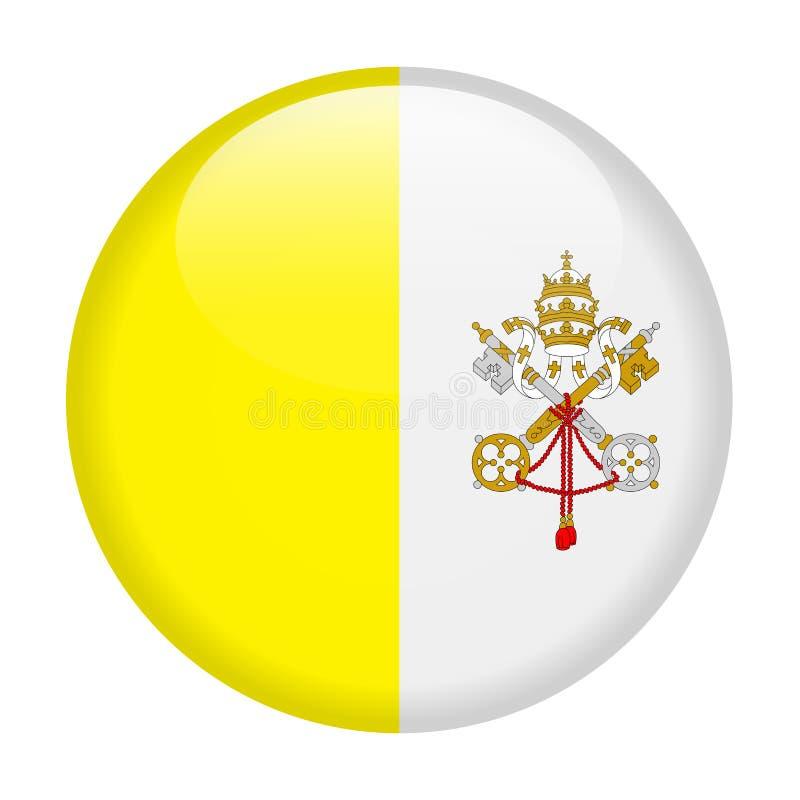 Watykan flagi Round Wektorowa ikona ilustracji