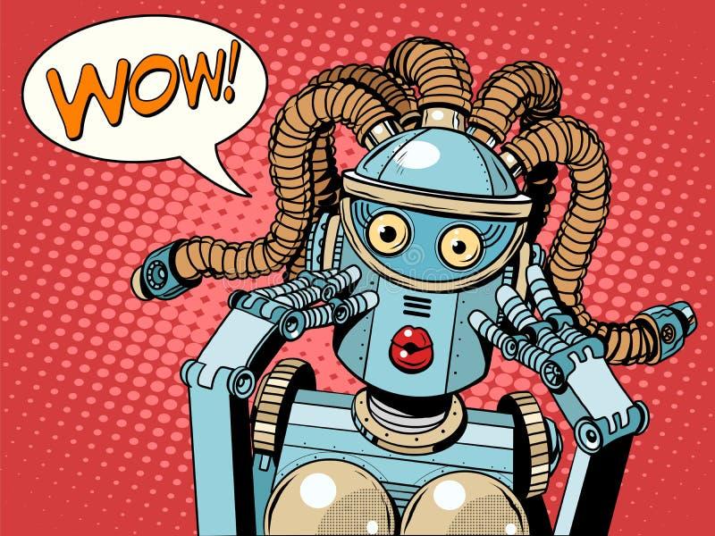 Wauw mooie vrouwenrobot vector illustratie