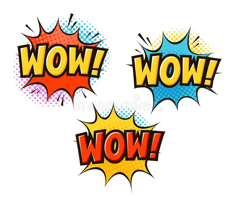 WAUW in pop-art retro grappige stijl De vectorillustratie van het beeldverhaaljargon stock illustratie
