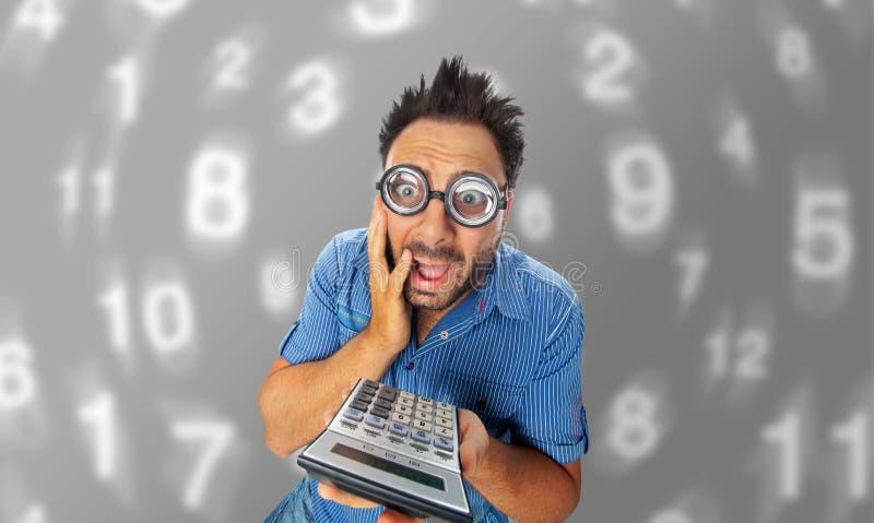 Wauw uitdrukking met calculator royalty-vrije stock fotografie