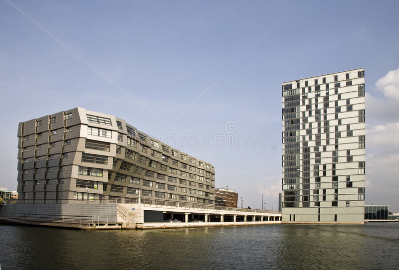 The Wave. The wavy facade surface of a modern building in Almere, Holland royalty free stock photos