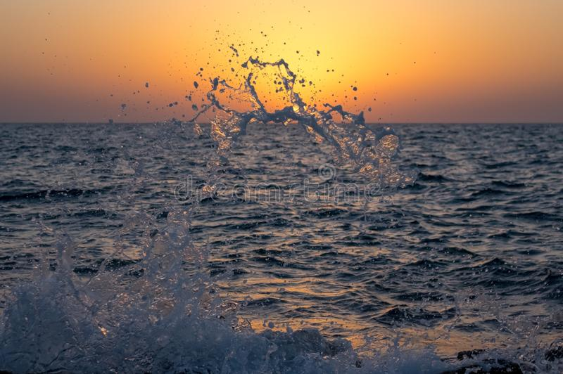 Wave absorbs the sun. Water splashes on a background sunset stock photo