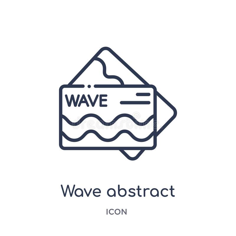 Wave abstract business card icon from other outline collection. Thin line wave abstract business card icon isolated on white. Background royalty free illustration