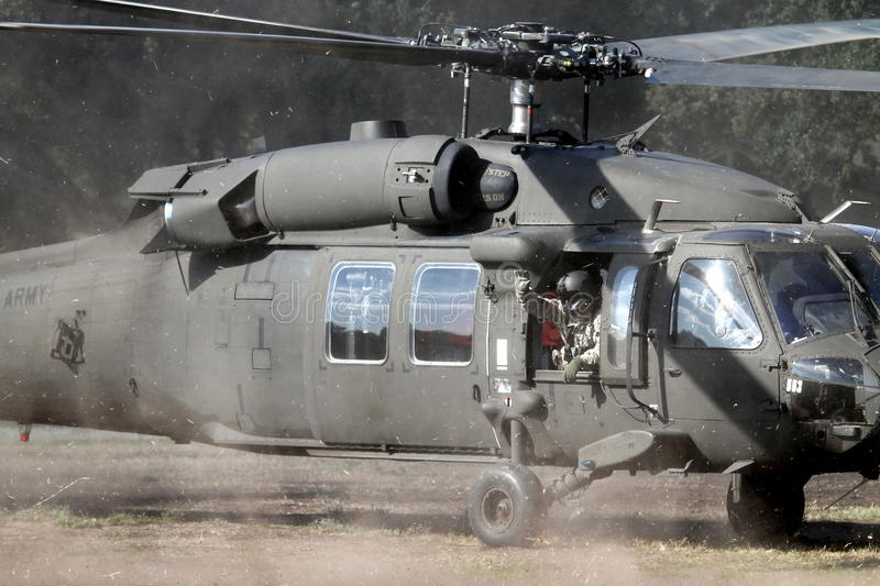 Wave from Apache Helicopter stock photography