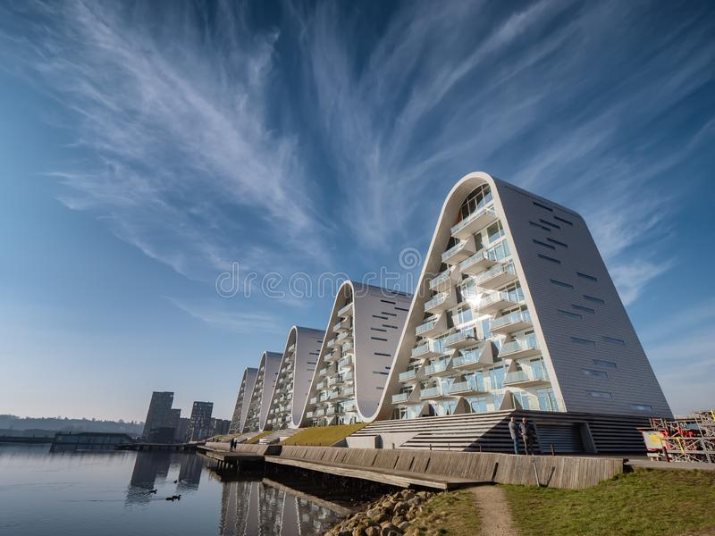 The Wave apartmens by the fjord in Vejle, Denmark stock photography