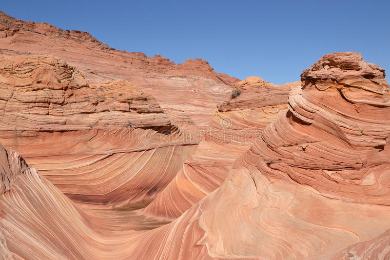 The Wave at Arizona(34). The Wave into the first feeling, they seem like a fairy tale Alice in Wonderland, this graceful wave slide Wonderland Valley, truer stock image