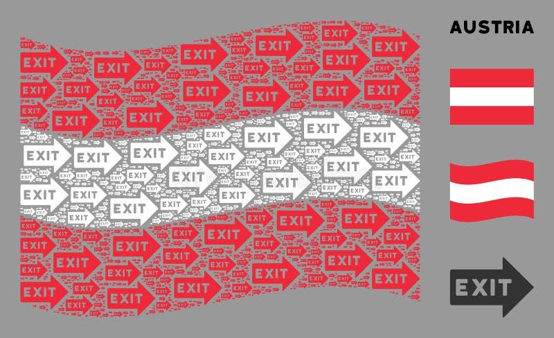Wave Austria Flag Mosaik of Exit Arrow Icons stock abbildung