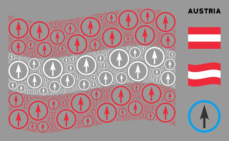 Wave Austrian Flag Mosaik of Sharp Rounded Arrow Icons stock abbildung