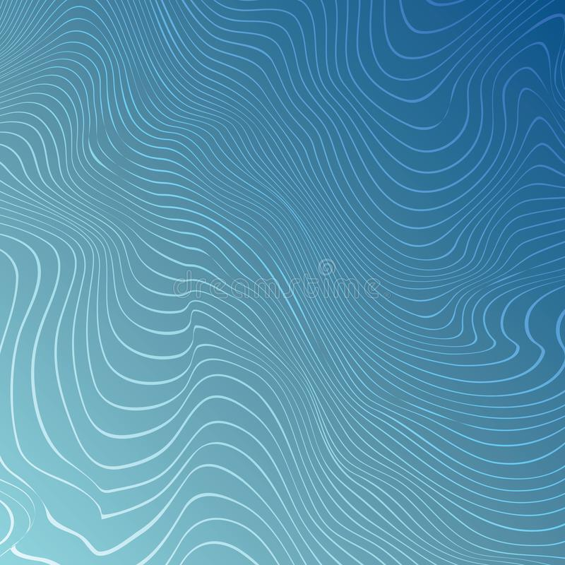 Blue wave background, abstract moire texture, royalty free illustration