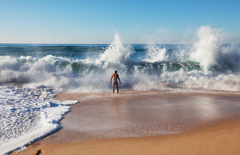 Wave. On the beach on Portugal coast royalty free stock photo