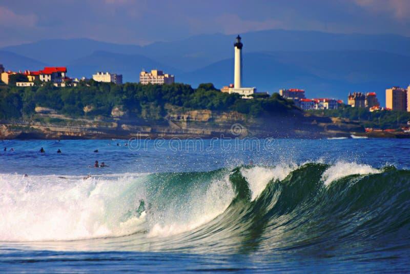 Wave and Biarritz. Beautiful wave near Biarritz city stock photos